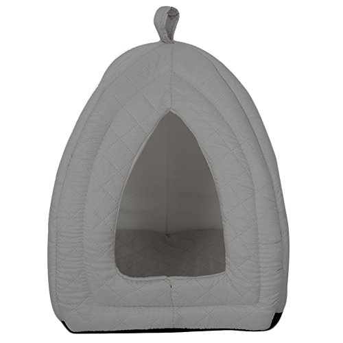 Coral Fleece Pet Bed Cozy Dog Cat Tent Lgloo (Pure Grey)