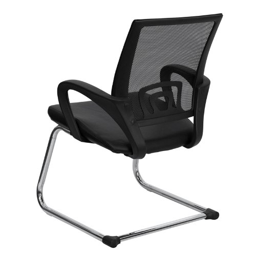 Flash Furniture Black Mesh Side Reception Chair with Leather Seat and Sled Base by Flash Furniture (Image #2)