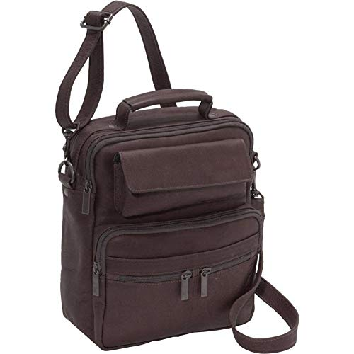 David King Leather Large Male Bag in Cafe