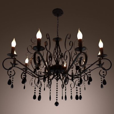 hua Wonderfully Black Hand-Cut Crystal Drops Iron Scroll Arms Wrought Iron Chandelier