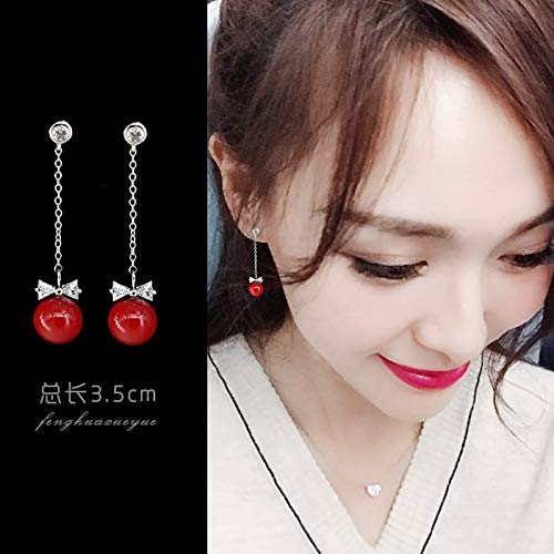 - Bride Long Wholesale Tassel Earrings Earring Ear Dangler Fashion Show Kimono Dress Accessories Hair Styling red Hook Retro Style (Bow red Pearl 925 Silver Needle 2773