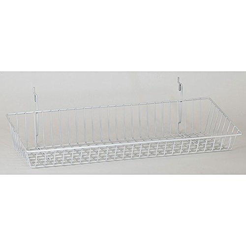 Wire Sloping Basket Slatwall Gridwall Pegboard Display Fixture Lotof 6 White NEW by Bentley's Display
