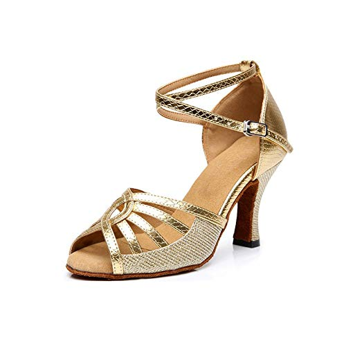 Hutt Zapato de Baile para Mujer, tamaño de Cuero de PU, 22.0cm a 25.5cm de Oro, Zapatos de Verano Suaves de Plata de Verano Oro