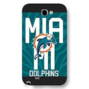 UniqueBox Customized NFL Series Case for Samsung Galaxy Note 2, NFL Team Miami Dolphins Logo Samsung Galaxy Note 2 Case, Only Fit for Samsung Galaxy Note 2 (Black Frosted Shell)