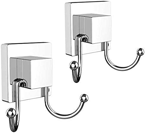 UTENEW Strong Suction Cup Hooks Organizer for Shower Home Kitchen Bathroom Wall Storage Towel Hooks Heavy Duty Stainless Steel Double Hooks