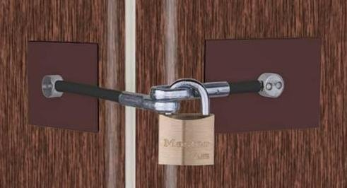 Brown Refrigerator Lock Includes Padlock