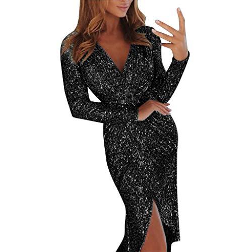 POQOQ Dress Women Deep V Neck Sequins Wrap Ruched Long Sleeve Nightclub M Black