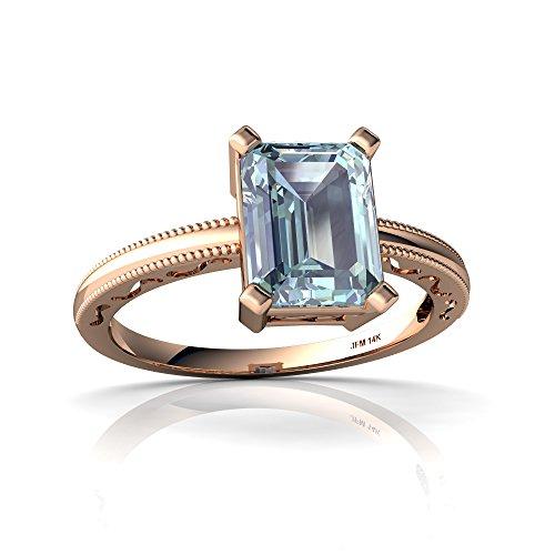 14kt Gold 6x4 Emerald (14kt Rose Gold Aquamarine 8x6mm Emerald_Cut Milgrain Scroll Ring - Size 4)