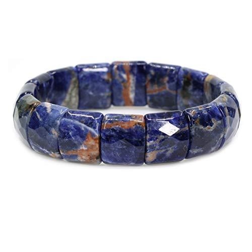 15 Mm Gemstone - Amandastone Natural Orange Blue Sodalite Genuine Semi Precious Gemstone 15mm Square Grain Faceted Beaded Stretchable Bracelet 7.5
