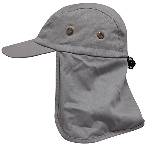 AshopZ Ear Flap Caps Sun Protection Outdoor Neck Shade Hat, Grey