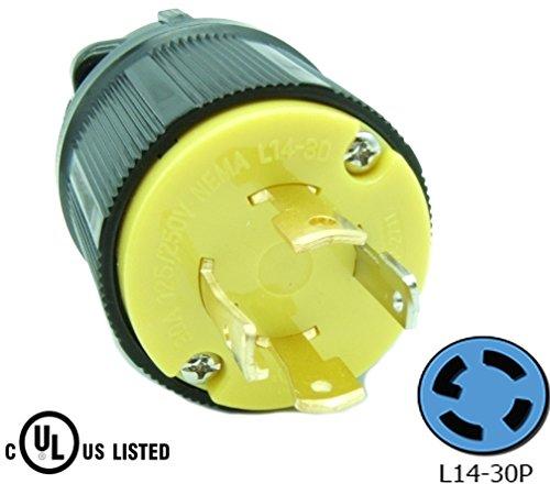 Journeyman-Pro 2711 30 Amp, 125/250 Volt, NEMA L14-30P, 3P, 4W, Locking Plug Connector, Black Industrial Grade, Grounding 7500 Watts Generator Rating (L14-30P (Male Plug))