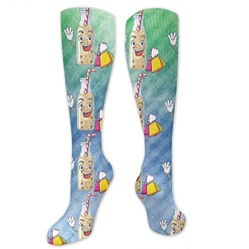 SARA NELL Knee High Socks Shopping Homemade Tasty Banana Smoothie Knee High Stockings Socks Sports Athletic Socks Tube Socks Funny Personalized Gift Socks for Women Teens Girls ()