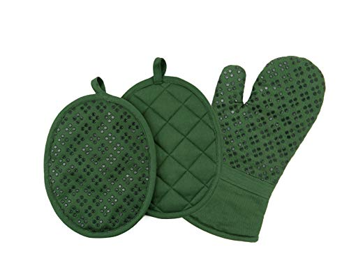 (Sticky Toffee Printed Silicone Oven Mitt and Pot Holders, 100% Cotton, 3 Piece Set, Dark Green)