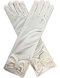 DreamHigh Kids Stretch Satin Long Finger Gloves for Flower Girl Children Party Ivory