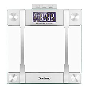VonHaus Body Fat Scale - BMI Weight Scale with Body Composition Analyser, Hydration Monitor, 400lb Weight Capacity, Silver/Glass Bathroom Weight Scales