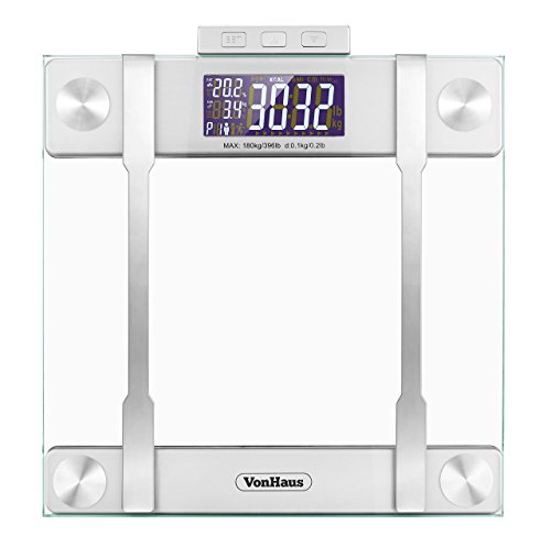 VonHaus Body Fat Scale - BMI Weight Scale with Body Composition Analyser, Hydration Monitor, 400lb Weight Capacity