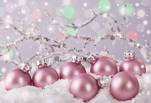 Yeele 7x5ft Christmas Photography Background Heavy Snow Pastel Pink Colored Ornaments Branch Merry Christmas Xmas Photo Backdrops Pictures Adult Artistic Portrait Photoshoot Props