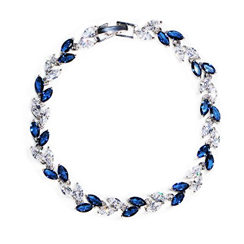 Jewelry Cubic Zirconia Sapphire (Me&Hz Blue Crystal Thin Bracelet Silver Plated Sapphire Birthstone Wedding Bangle Bracelet for Women Girls)