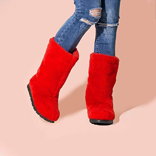 - Red Sheepskin Winter Boots for Women, Long Boots, Snow Boots, Furry Boots, Color Boots, Mukluks, Yeti Boots, Eskimo Boots, LITVIN