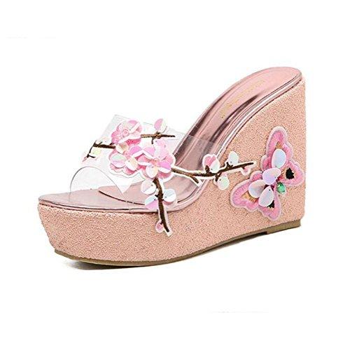 bowknot con e alto fiori tallone YWNC pink donna tacco tacco vertiginoso con da infradito Sandali con 7I6qp0