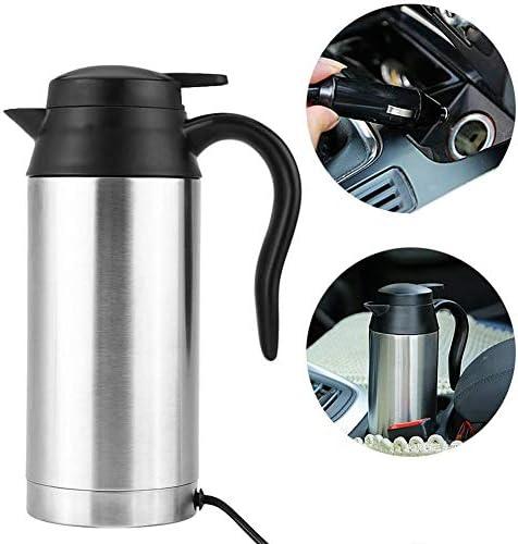 DJDL 750ml Car Bollitore Elettrico 12V dell'automobile dell'Acciaio Inossidabile Hot Pot con Powered By Accendisigari Base per Acqua per tè E caffè MilkIndicator
