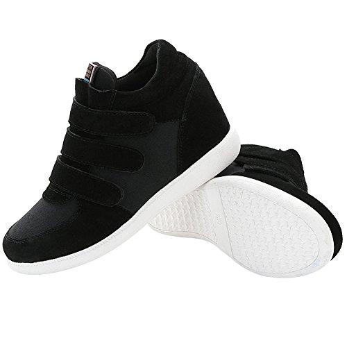 Casual Shenn Heel Wedge Fabric Fashion Sneakers Womens Comfortable amp;Suede Hook amp;Loop Black wxRYBSxqA