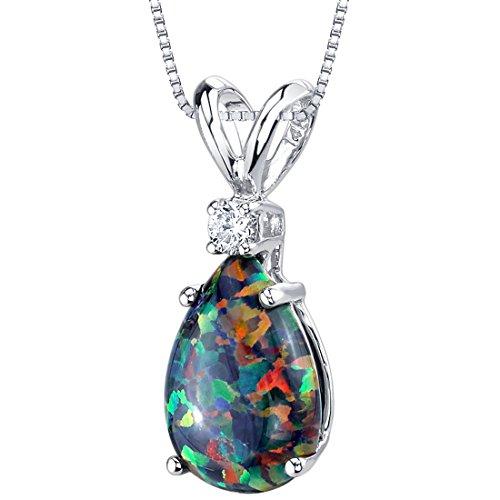 14 Karat White Gold Pear Shape Created Black Opal Diamond Pendant ()