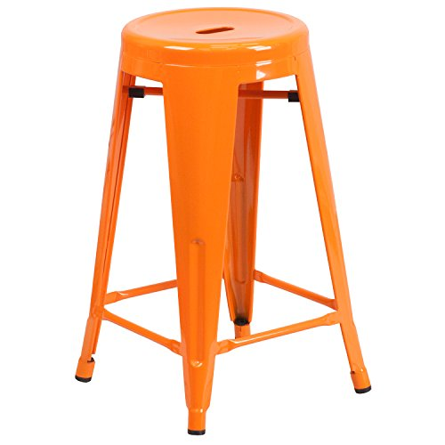 Flash Furniture 24'' High Backless Orange Metal Indoor-Outdoor Counter Height Stool with Round Seat by Flash Furniture