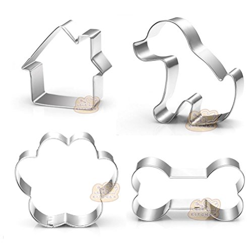 - Dog Themed Cookie Cutter Set - Dog Treat Cookie Cutters,Dog,Dog Bone,Paw Print,Dog House,4-Piece Set