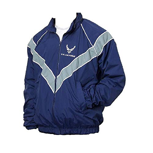 Us Airforce Uniform (DSCP New US Air Force AF Physical Training Uniform Jacket Runnung Fitness Workout Jogging Windbreaker Blue Rain Coat PT IPFU USGI)
