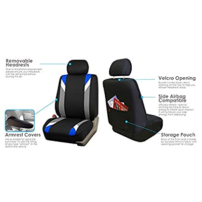 FH Group FB033BLUE102 Bucket Seat Cover (Modernistic Airbag Compatible (Set of 2) Blue): Automotive