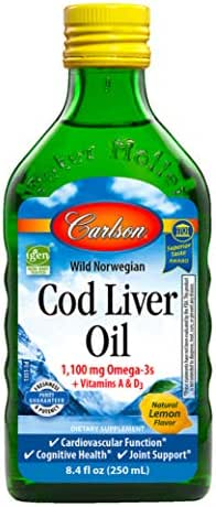Carlson - Cod Liver Oil, 1100 mg Omega-3s, Wild Norwegian, Sustainably Sourced, Lemon, 500 ml