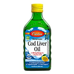 Carlson Cod Liver Oil has received numerous awards for its taste and quality. A single teaspoonful provides 1,100 mg of omega-3s, including EPA and DHA, which support heart, brain, vision, and joint health. To ensure maximum freshness, Cod Li...