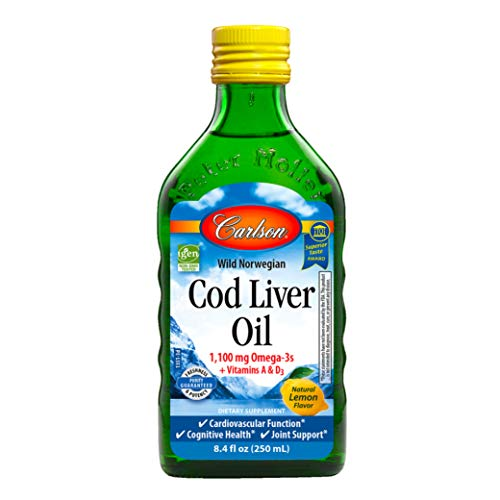 Carlson - Cod Liver Oil, 1100 mg Omega-3s, Wild-Caught Norwegian Arctic Cod-Liver Oil, Sustainably Sourced Nordic Fish Oil Liquid, Lemon, 500 ml