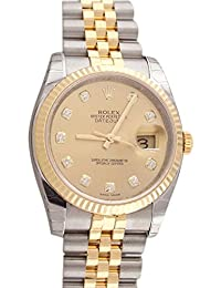 Datejust 36mm Champagne Diamond Dial Fluted Watch 116233 · Rolex