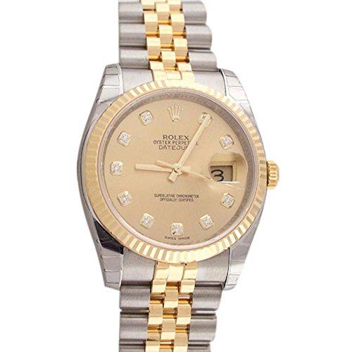 Rolex Datejust 36mm Champagne Diamond Dial Fluted Watch 116233