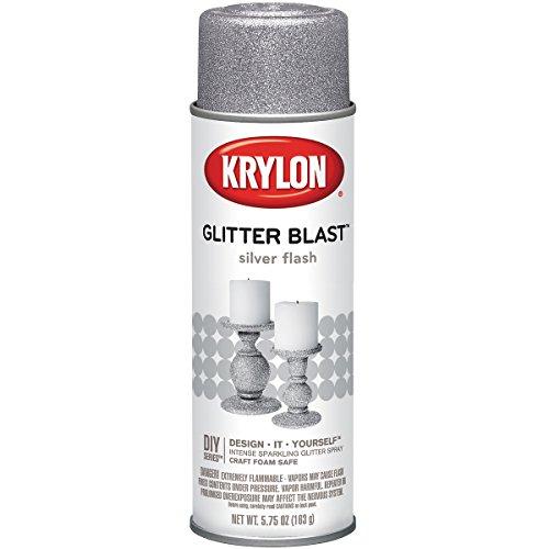 - Krylon Glitter Blast Aerosol Spray 5.75 Ounces-Silver Flash