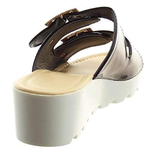 Sopily - Zapatillas Moda Mujer Sandalias Tobilleras Con Punta Abierta Hebilla Metálica Brillante Plataforma Cuña Tacón 4.5 Cm - Negro