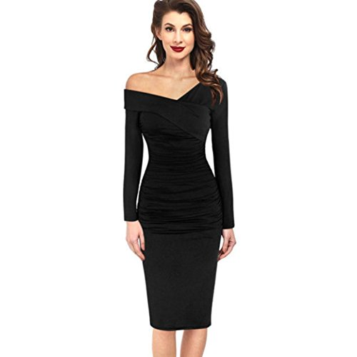 Price comparison product image Women Dress Daoroka Women's Sexy Deep V-Neck Oblique Off Shoulder Evening Bodycon Ruffle Club Midi Dress Women's New Fashion Fall Winter Ruched Work Party Cocktail Sheath Dress (M, Black)