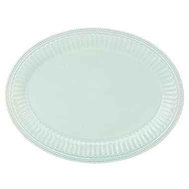 Lenox French Perle Groove Oval Platter, Ice Blue