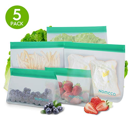 5 Pack Reusable Sandwich Bags Storage Bags for Food, Reusable Bags Freezer Safe Leakproof Lunch Snack Fruit Bags, Food Grade PEVA BPA Free Bags (3 Sandwich & 2 Snack Bags)