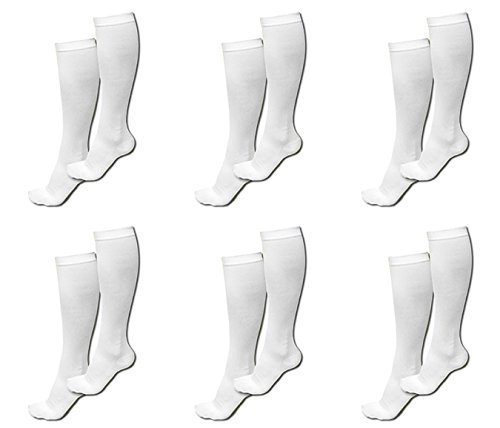 6 Pairs TASOM Compression Socks Over the Calf Below Knee Anti Fatigue Antimicrobial Sock Stockings For Men Woman Foot Feet Ankle Heel Pain Ache Swelling Relief - 6 Pairs White LG/XL by TAS ONLINE MALL