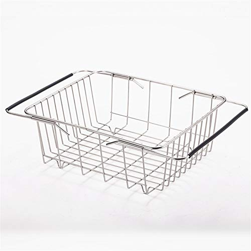 Pinjewelry Convenient and Practical Stainless Steel Sink Drain Basket Telescopic Dish Rack Washing Fruit Storage Basket Kitchen Rack (Size : Suliao)