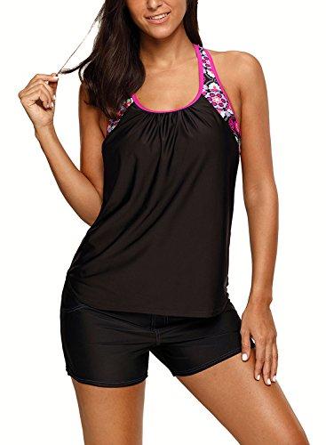 Women's Blouson Floral T-Back Push up Tankini Top Halter Padded Slimming Swimsuit Sporty Swimwear Black L 12 14 by Dearlove (Image #2)
