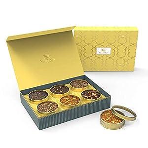 VAHDAM Assorted Tea Gift Box Set - Masala Chai Tea, Cinnamon Tea, Black Tea, Ayurvedic Tea, Turmeric Spice, Hibiscus Tea - Unique Gifts for Men, Women, Apt for Anniversary, Birthdays, Wedding & Office