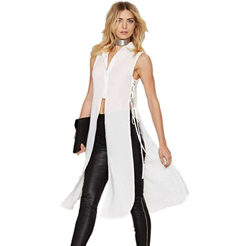 New Sexy Chiffon - City In Left Women 2016 New Summer Sleeveless Long Sexy Chiffon Vest Top Color White Size L