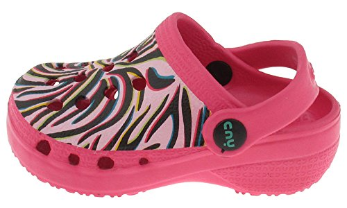 Footwear Toddler Pink Combo - Capelli New York Toddler Girls Techno Zebra Printed Injected Eva Clog With Backstrap Pink Combo 4/5