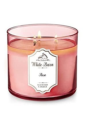 Bath and Body Works White Barn 3-Wick Scented Candle 14.5 Ounce in Rose
