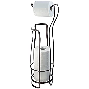 InterDesign Axis Free Standing Toilet Paper Holder – Extra Toilet Roll Storage for Bathroom, Bronze