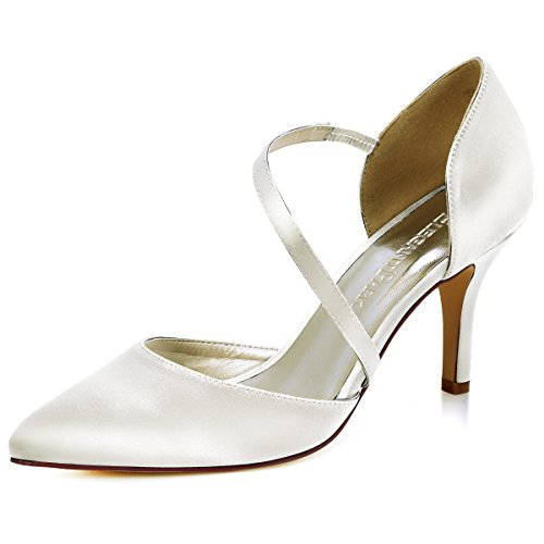 ElegantPark HC1711 Women High Heel Strappy Dress Pumps Pointy Toe Satin Wedding Party Shoes Ivory US 8.5 ()